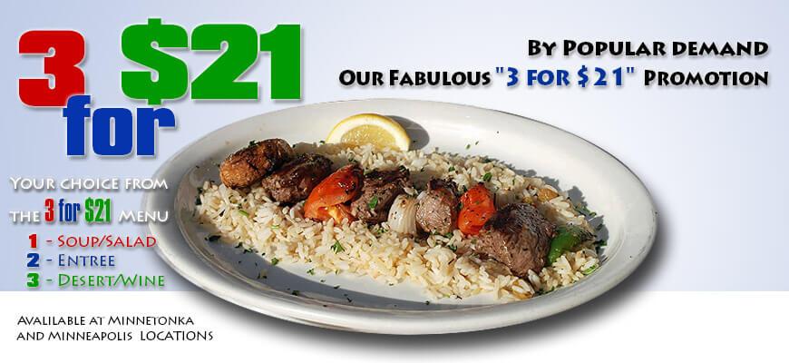 Christos 3 for $21 Special