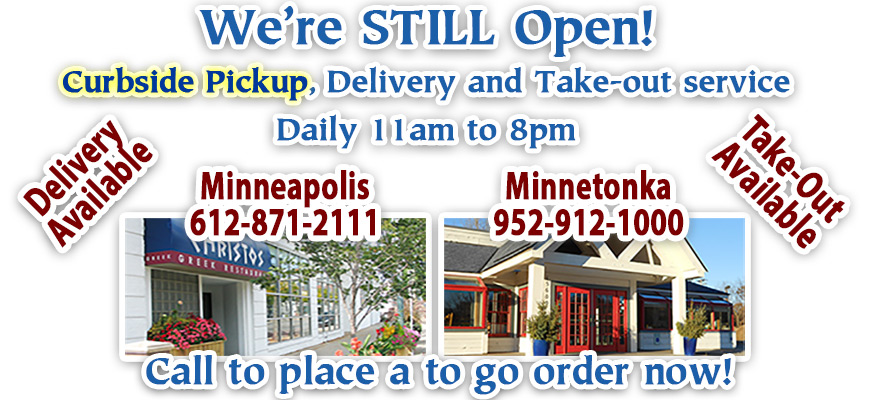 Christos Open For Delivery and Take-out