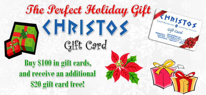 Christos Gift Card Holiday Special
