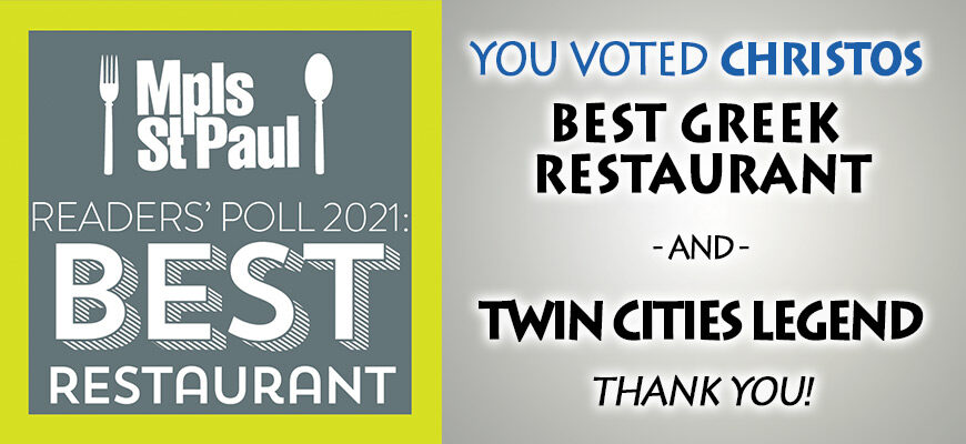 Christos Voted Best Greek & Twin Cities Legend